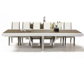 Mateo Modern Dining Room Set in Brown Oak Matte & White Lacquer