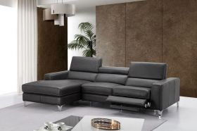 J&M Ariana Premium Leather Sectional Sofa in Dark Grey with Left Facing Chaise