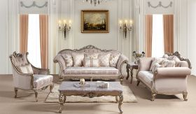 Ariana Traditional Living Room Set in Champagne