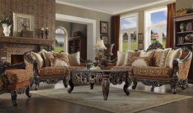 Arley Traditional Living Room Set in Gold Caramel & Brown