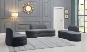 Arvada Contemporary Living Room Set in Gray