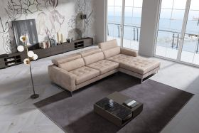 Rome Modern Leather Sectional Sofa in Vintage Sand