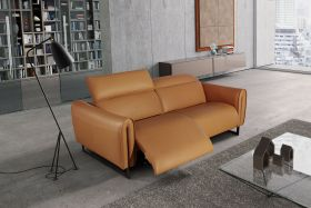 Milan Leather Living Room Set in Spessorato Natural Cuoio