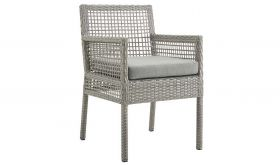 Aura Outdoor Patio Wicker Rattan Dining Armchair in Gray Gray