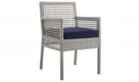 Aura Outdoor Patio Wicker Rattan Dining Armchair in Gray Navy