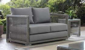 Aura Outdoor Patio Wicker Rattan Loveseat in Gray Gray