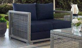 Aura Outdoor Patio Wicker Rattan Loveseat in Gray Navy