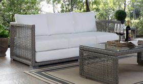 Aura Outdoor Patio Wicker Rattan Sofa in Gray White