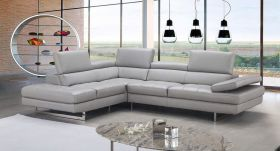 J&M Aurora Premium Leather Sectional Sofa in Light Grey with Left Facing Chaise