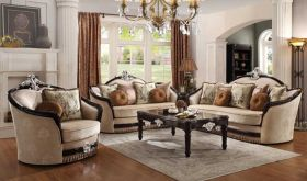 Avalon Traditional Living Room Set in Tan & Black