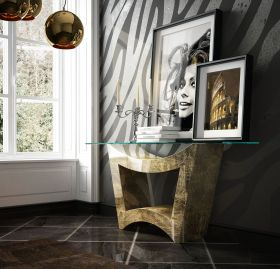 Avila Modern Console Table in Clear & Champagne