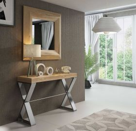Badajoz Modern Console Table in Oak & Old Silver