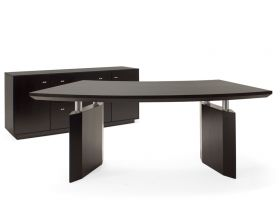 Novato Modern Office Desk Set in Wenge Veneer