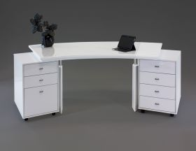 Novato Modern Office Desk Set in White Lacquer