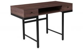 Bartlett Wood Grain Computer Desk with Drawers and Metal Legs in Ash & Black