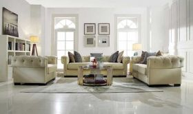 Basilica Traditional Living Room Set in Cream