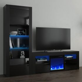 Beaufort Modern Electric Fireplace Wall Unit Entertainment Center