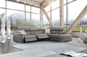 Beaumont Modern Sectional Sofa with 2 Electric Recliner in Grey
