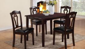 Bell Traditional Dining Set (Table + 4 Chair) in Dark Brown