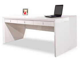 Menasha Modern Office Desk in White Lacquer