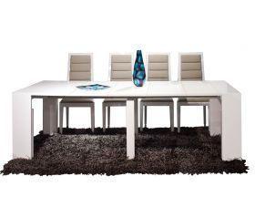 Warner Modern Dining Room Set in White Lacquer