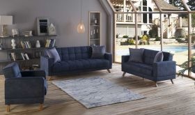 Bergen Convertible Living Room Set in Yakut Navy