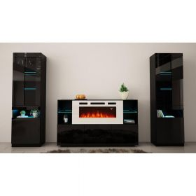 Berlin Modern Electric Fireplace Wall Unit Entertainment Center