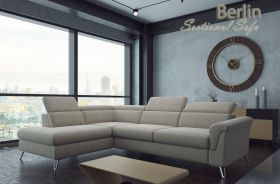 Bloomsburg Fabric Sectional Sofa with Bed & Storage in Beige