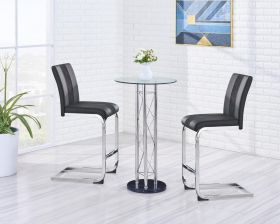 Rhine Modern Dining Room Set in Matte Black & Chrome