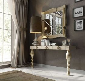 Bilbao Modern Console Table in Ivory & Gold