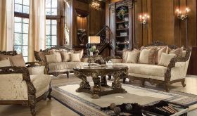 Bingen Traditional Living Room Set in Metallic Antique Gold & Brown