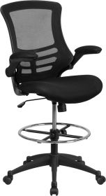 Mid-Back Black Mesh Drafting Chair with Adjustable Foot Ring & Flip-up Arms [BL-X-5M-D-GG]