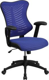 High Back Blue Designer Mesh Executive Swivel Office Chair with Mesh Padded Seat [BL-ZP-806-BL-GG]