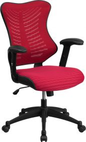 High Back Burgundy Designer Mesh Executive Swivel Office Chair with Mesh Padded Seat [BL-ZP-806-BY-GG]