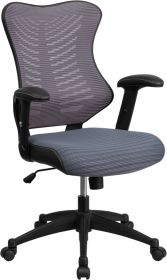 High Back Gray Designer Mesh Executive Swivel Office Chair with Mesh Padded Seat [BL-ZP-806-GY-GG]
