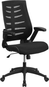 High Back Black Designer Mesh Executive Swivel Office Chair with Height Adjustable Flip-Up Arms [BL-ZP-809-BK-GG]