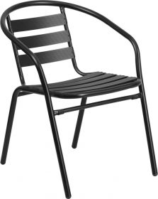 Black Metal Restaurant Stack Chair with Aluminum Slats [TLH-017C-BK-GG]