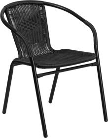 Black Rattan Indoor-Outdoor Restaurant Stack Chair [TLH-037-BK-GG]