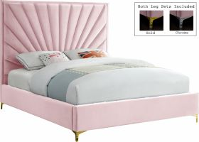 Bled Contemporary Velvet Bed in Pink