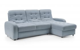 Detroit Contemporary Fabric Sectional Sofa with Bed & Storage in Blue
