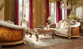 Blount Traditional Living Room Set in Brown & Beige