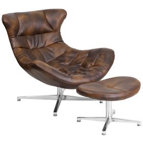 Bomber Jacket Leather Cocoon Chair with Ottoman [ZB-43-COCOON-GG]