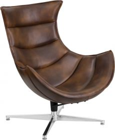Bomber Jacket Leather Swivel Cocoon Chair [ZB-39-GG]