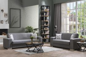Boulder Convertible Living Room Set in Diego Gray