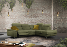 Bianco Modern Sectional with 1 electric recliner in Green