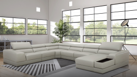 1576 Modern Leather Sectional Sofa in Grey
