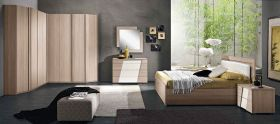 Juan Contemporary Bedroom Set in Natural & White