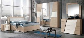 San Contemporary Bedroom Set in Natural & White