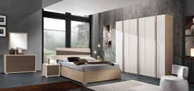 Orange Contemporary Bedroom Set in Natural & White