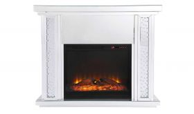 "Brant 47.5"" Crystal Mirrored Mantle with Wood Log Insert Fireplace in White"